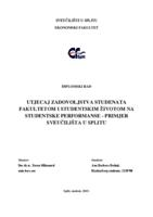 prikaz prve stranice dokumenta Utjecaj zadovoljstva studenata fakultetom i studentskim životom na studentske performanse - primjer Sveučilišta u Splitu